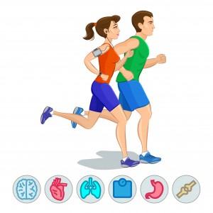schlank mann frau joggen